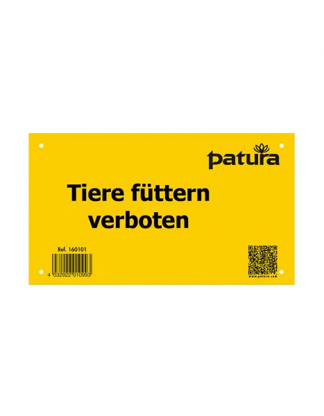 """PATURA Warnschild - """"Tiere füttern verboten"""" - Kunststoff"""