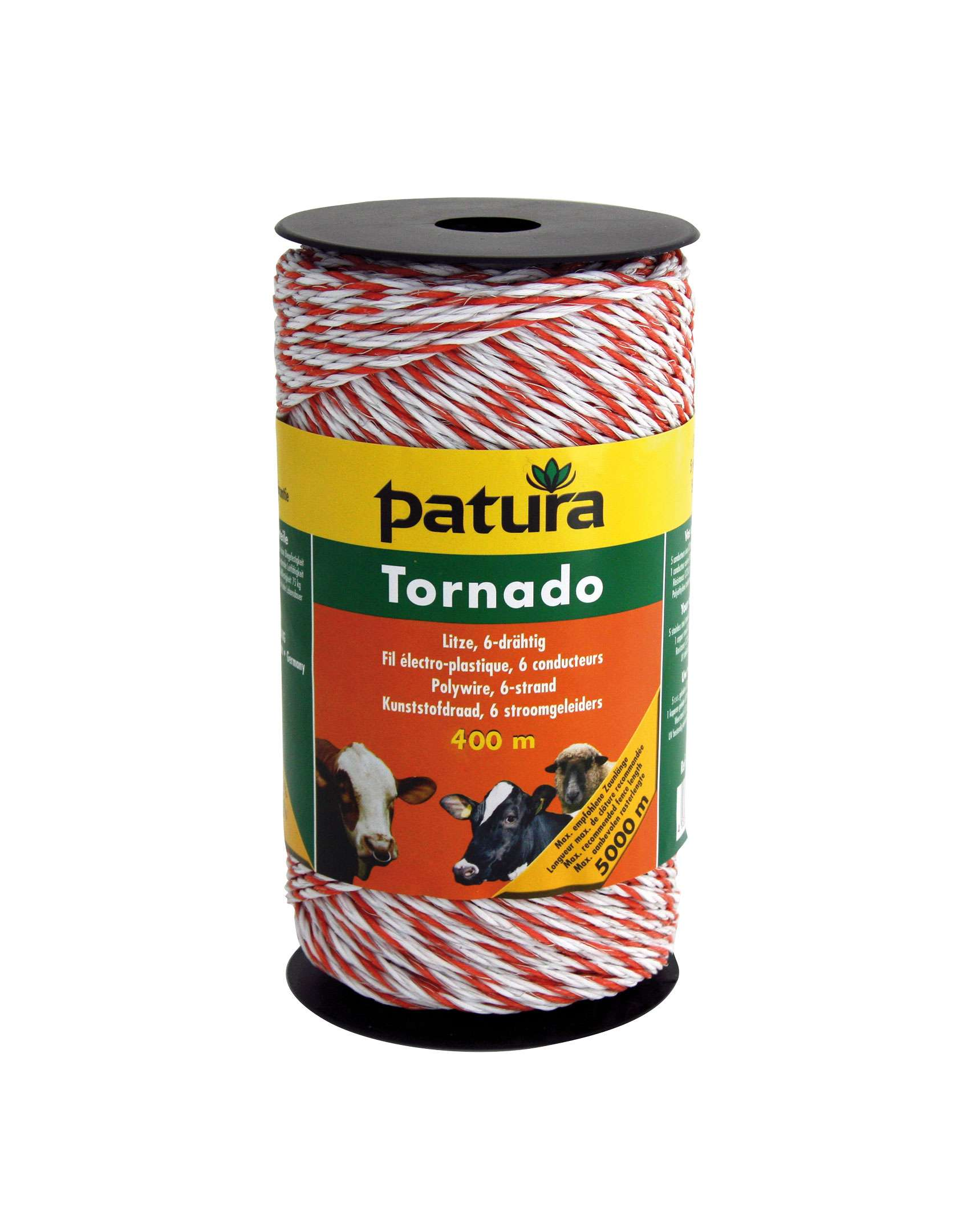PATURA Tornado Litze weiß-orange - 400 m