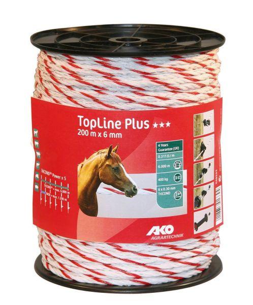AKO TopLine Plus Weidezaunseil Ø 6 mm, 200 m - weiß / rot
