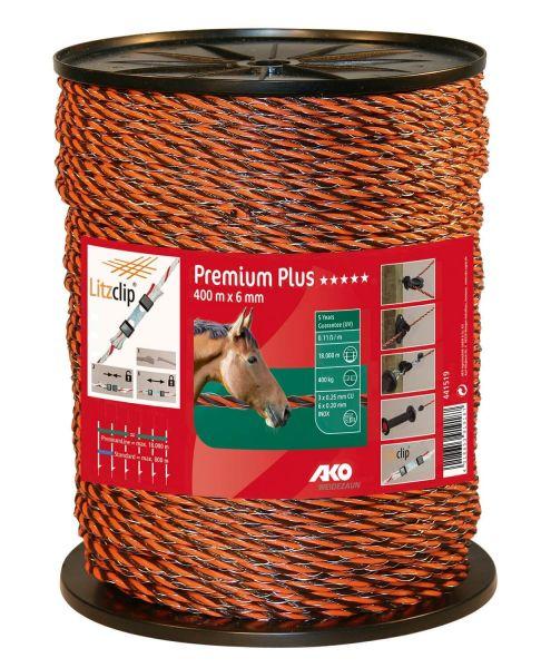 AKO PremiumLine Weidezaunseil Ø 6,5 mm, 400 m - orange / braun