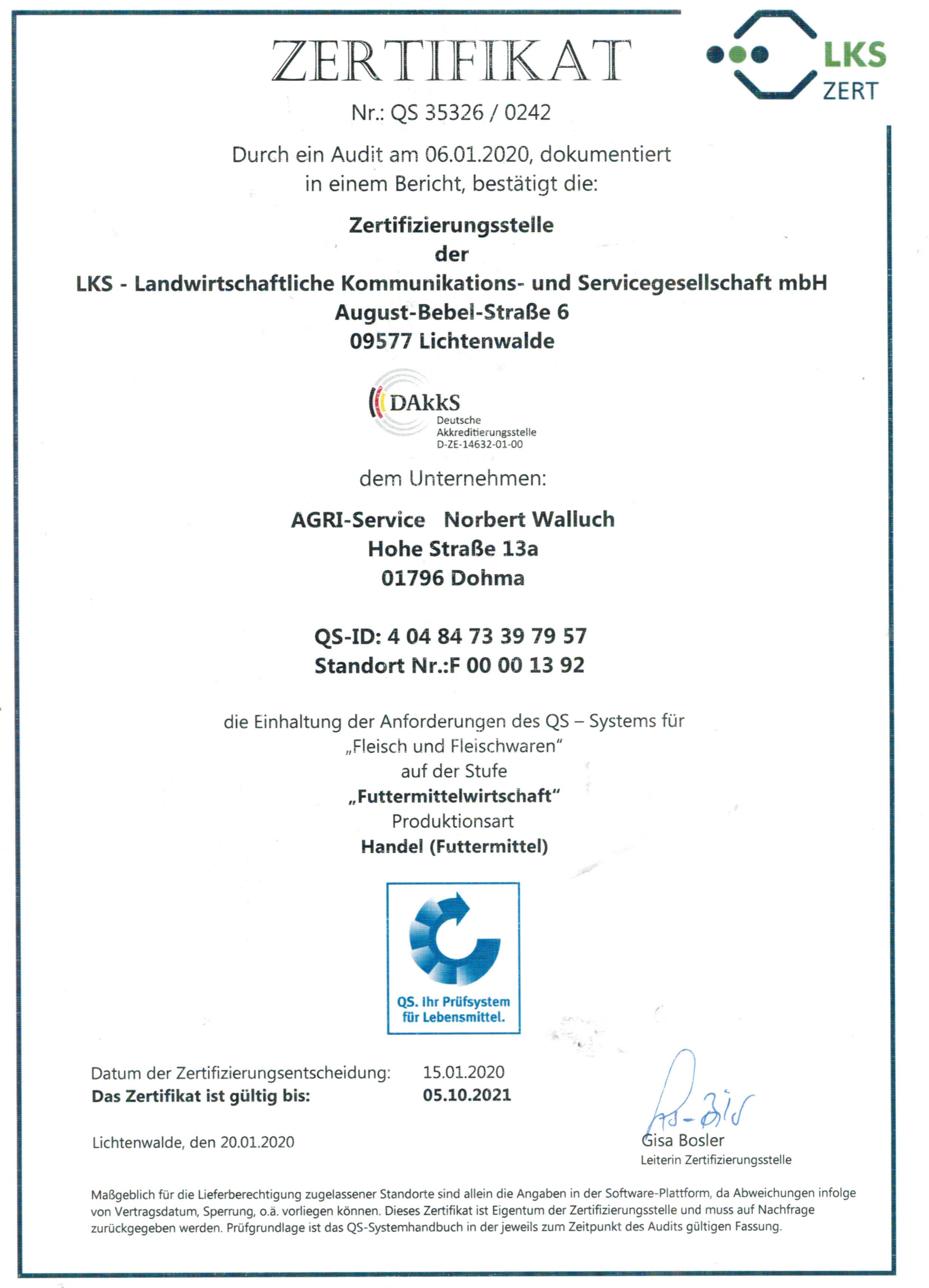 QS-Zertifikat