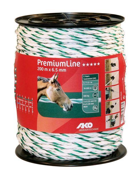 AKO PremiumLine Weidezaunseil Ø 6,5 mm, 200 m - weiß / grün
