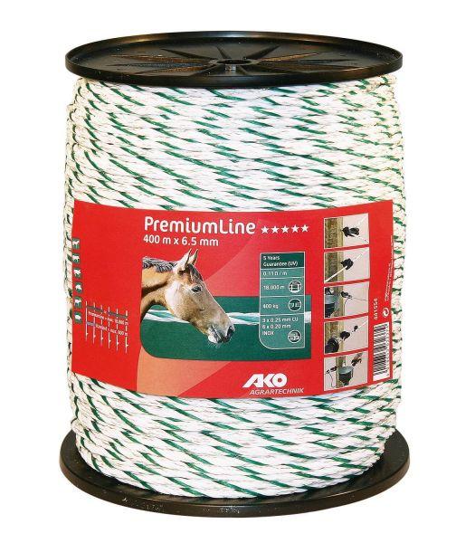 AKO PremiumLine Weidezaunseil Ø 6,5 mm, 400 m - weiß / grün