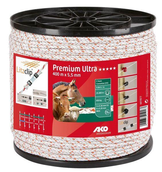 AKO Premium Ultra Weidezaunseil Ø 5,5mm, 400 m - weiß / orange