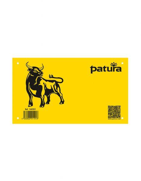 """PATURA Warnschild - """"Freilaufender Bulle"""" - Kunststoff"""